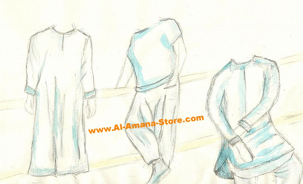 Qamis Jalabiya Gewand Islamische Kleidung Herren Qabail DC Jeans Al Haramain Dafa