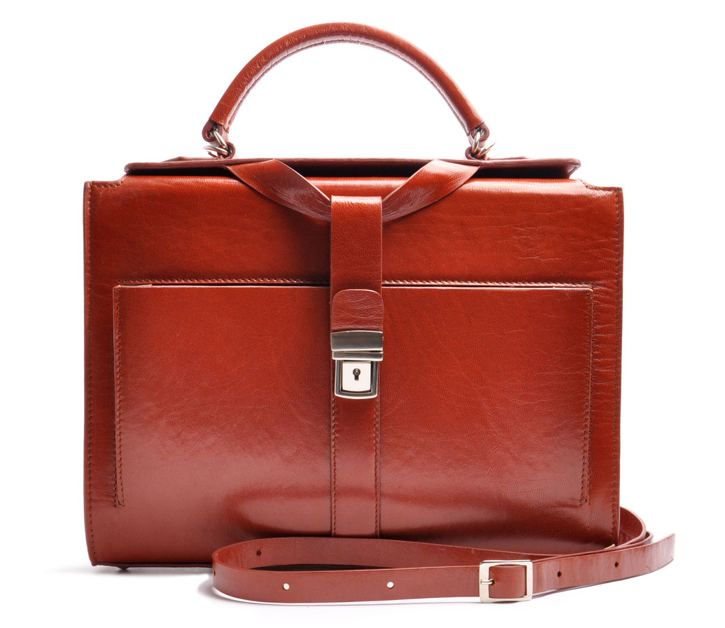 Handcrafted Leather Bag COLETTE cognac Leather Manufactory  OSTWALD Traditional Craft