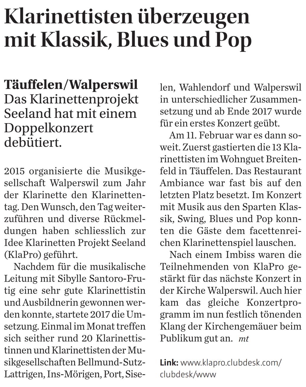 Bericht im Bieler Tagblatt vom 20.02.2018