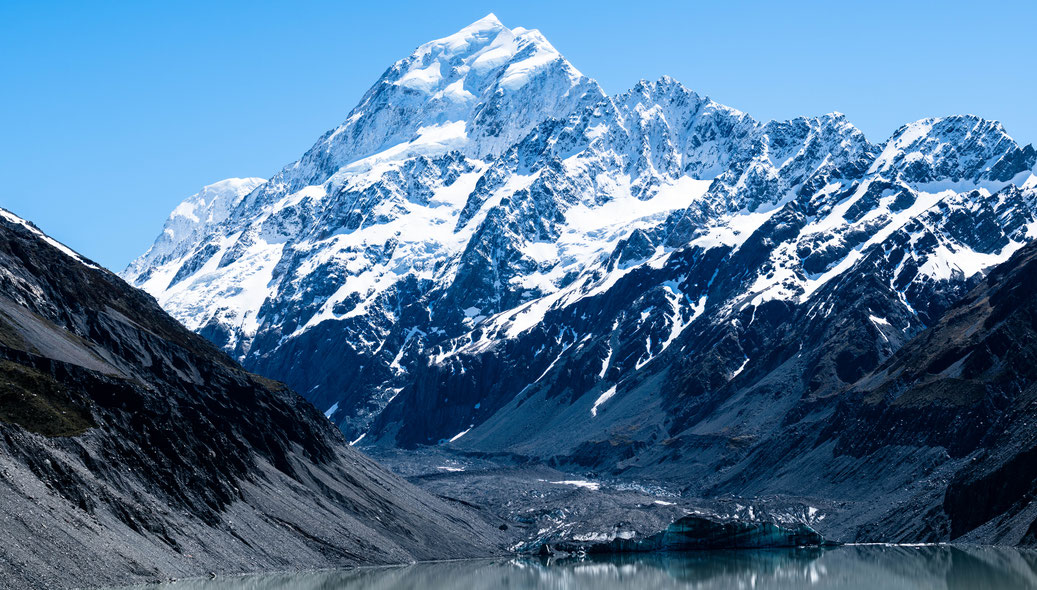 Mount Cook at Hooker glacier in New Zealand