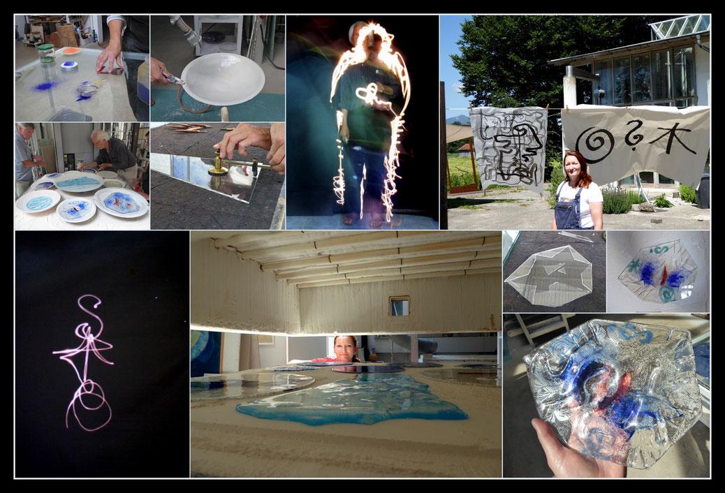 """Juni 2018: Kurs """"Licht, Glas, Schale"""" bei dem großartigen Glaskünstler Florian Lechner - Tuschezeichnung, Lichtzeichnung und Herstellung einer Glasschale. Mein Thema: Warum ist der Mensch auf dieser Welt?"""
