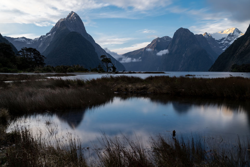 Milford Sound after sunset, New Zealand