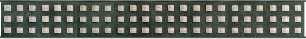72 mouth silent, statuario marble/verde guatemala