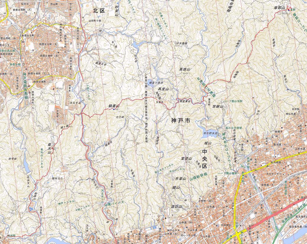 六甲山縦走 鵯越~摩耶山 ルート図
