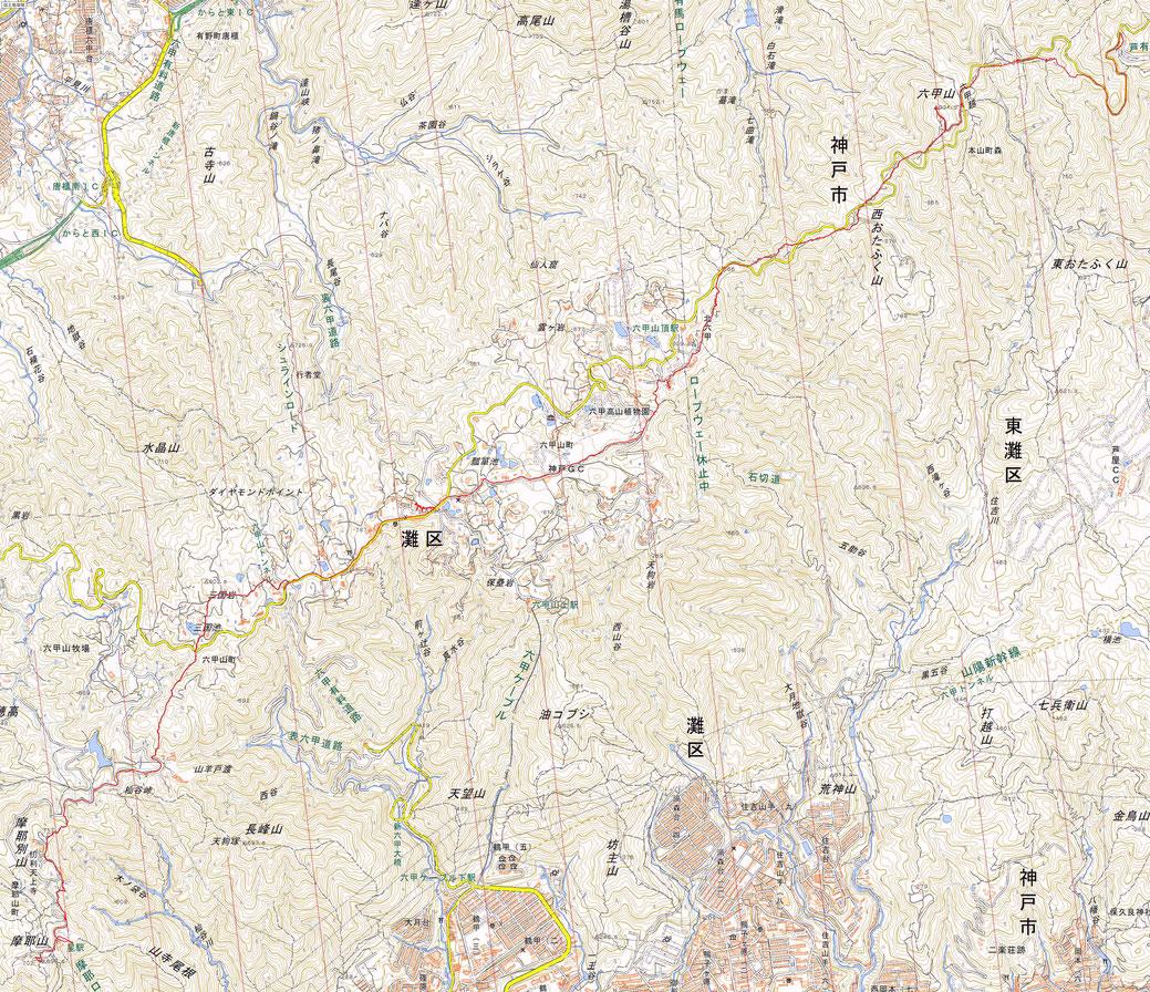 六甲山縦走 摩耶山~六甲山最高峰 ルート図