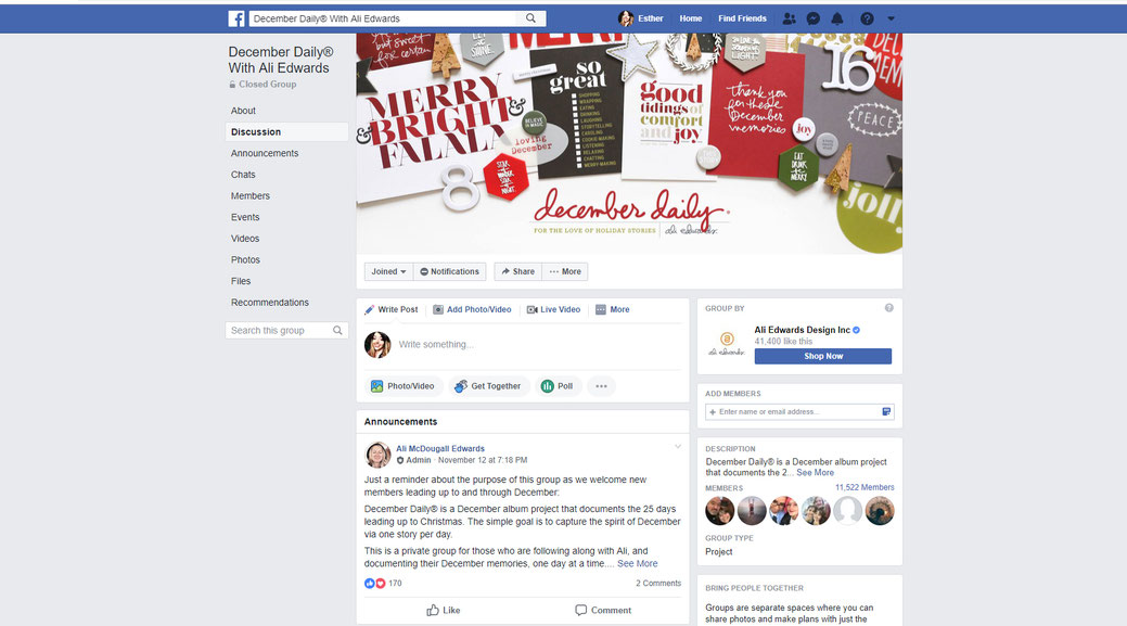 December Daily with Ali Edwards Facebook group