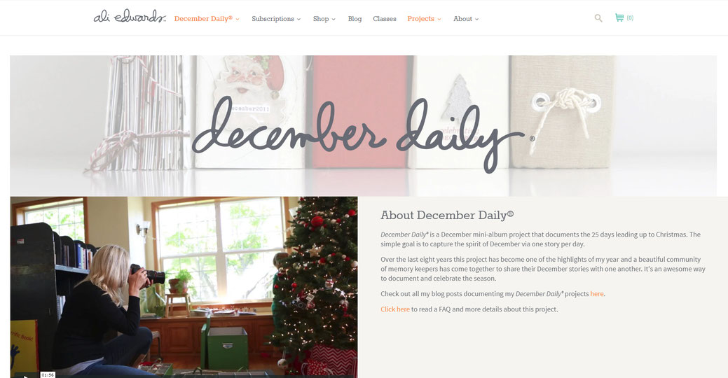 Ali Edward´s December daily official website - about December daily