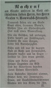 Nachrufanzeige vom 17.4. 1884 (Lübbener Kreis- und Intelligenzblatt)