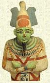 Osiris accueille le mort dans l'autre monde. Il préside au jugement des morts. Si le cœur est pur, il reste en équilibre avec la plume représentant la déesse Maat, Osiris accueille le mort dans les Champs d'Ialou qui sont une sorte de Paradis.