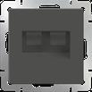 Розетка телефонная RJ-11 и Ethernet RJ-45 серо-коричневый Werkel