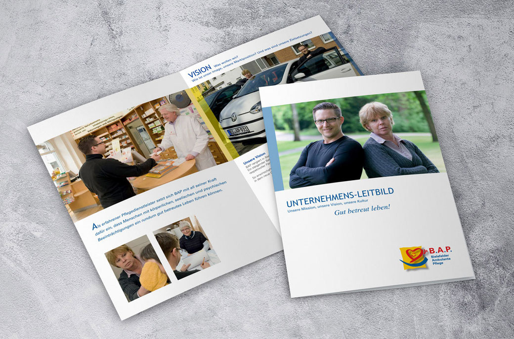 Unternehmens-Leitbild, 6-seitige Broschüre Din A4