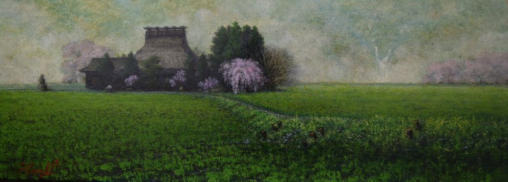 中村晴信「家路」油彩 24.2 x 66.6 cm
