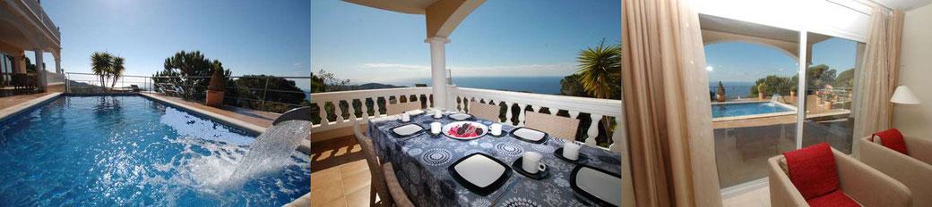 Location vacances Lloret de Mar. Belle villa située dans le quartier résidentiel de Roca Grossa, à seulement 3 km de centre ville de Lloret de Mar, sur la Costa Brava.