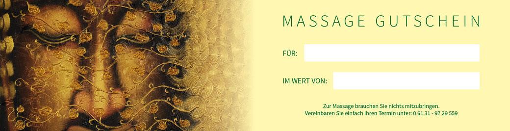 Massagegutschein zum Valentinstag, Muttertag, Weihnachten, Geburtstag, als Geschenk