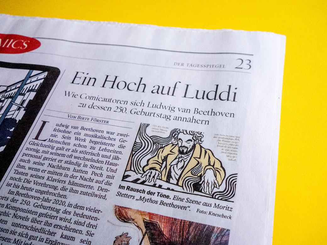 "Moritz Stetter ""Mythos Beethoven"" Graphic Novel, Artikel im Tagesspiegel"