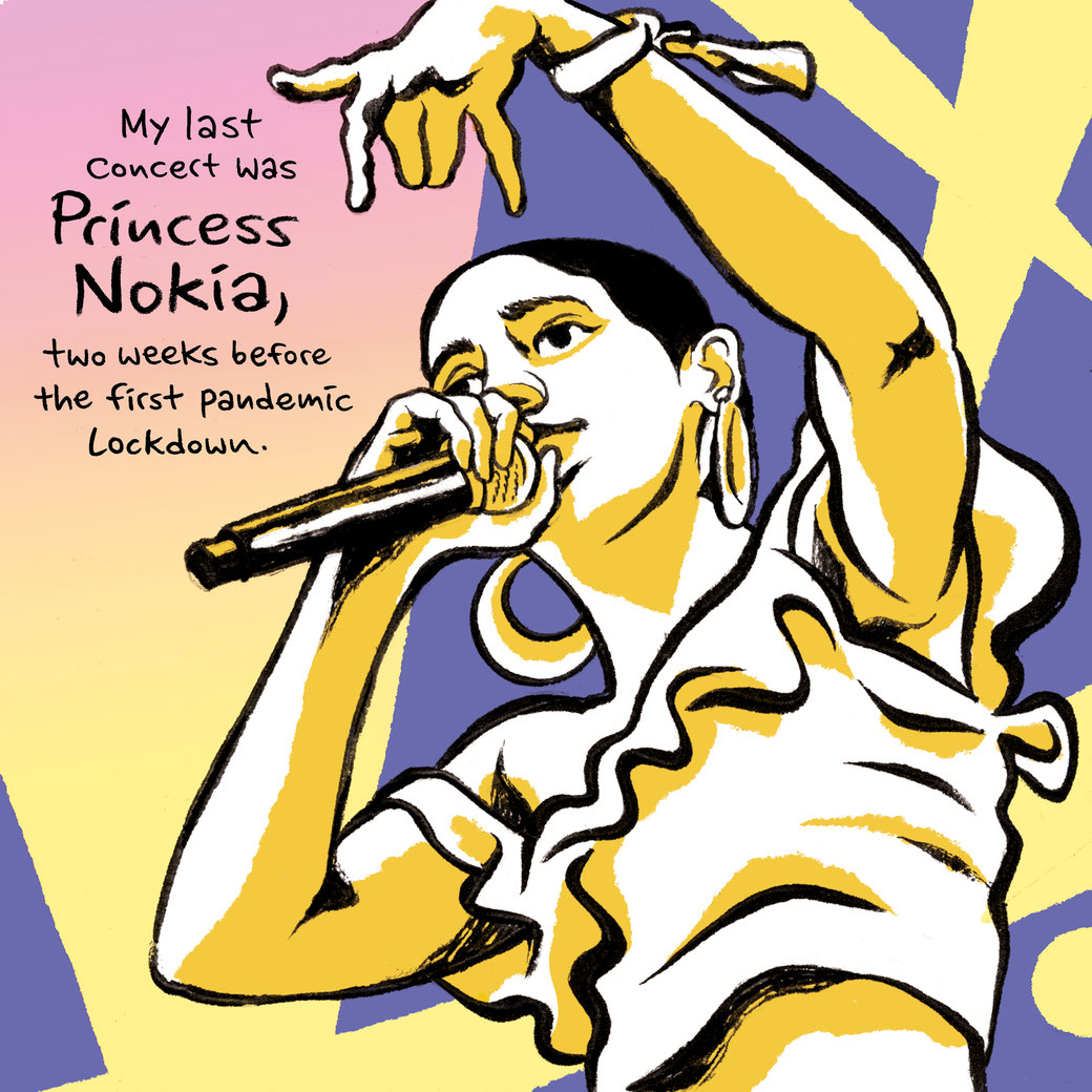 Princess Nokia live in concert. Comic © 2021 Moritz Stetter