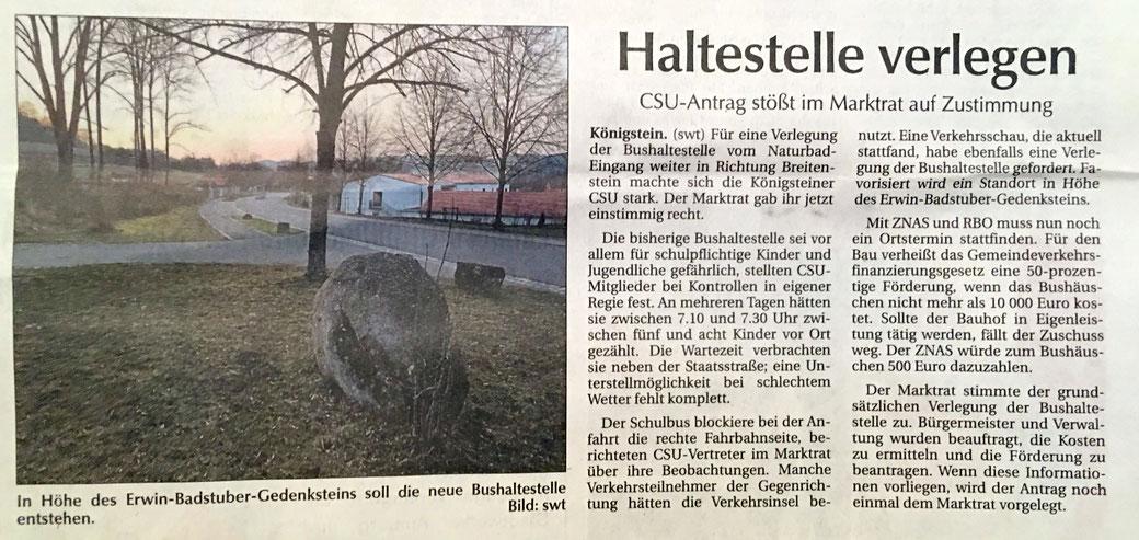 Klaus Hafner CSU Ortsverband Königstein Hirschbach Naturbad Bushaltestelle Bushäuschen