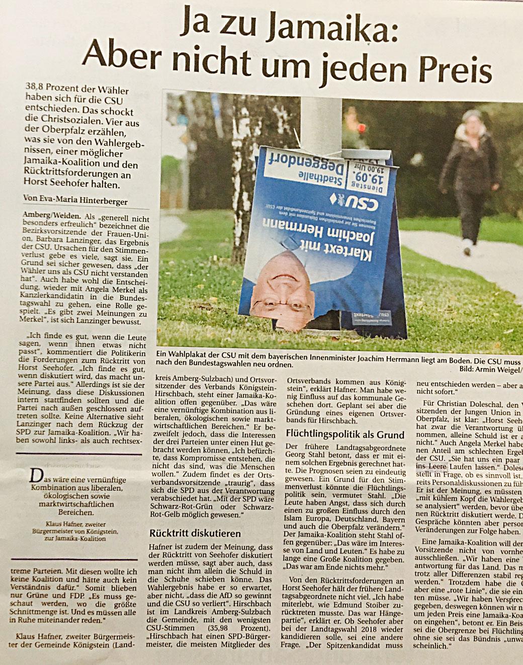 Klaus Hafner CSU Ortsverband Königstein Hirschbach Bundestagswahl 2017