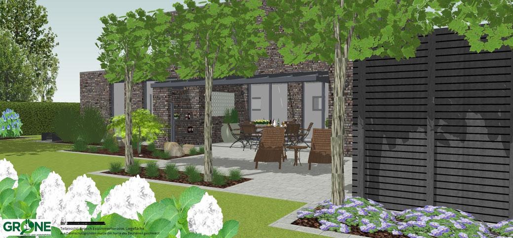 3D Gartenplanung, Terrasse, Gröne Garten-und Landschaftsbau, Quellstein, Spalierbaum als Sichtschutz, Mähroboter, Rasenfläche, Sichtschutz aus Holz, Gräser