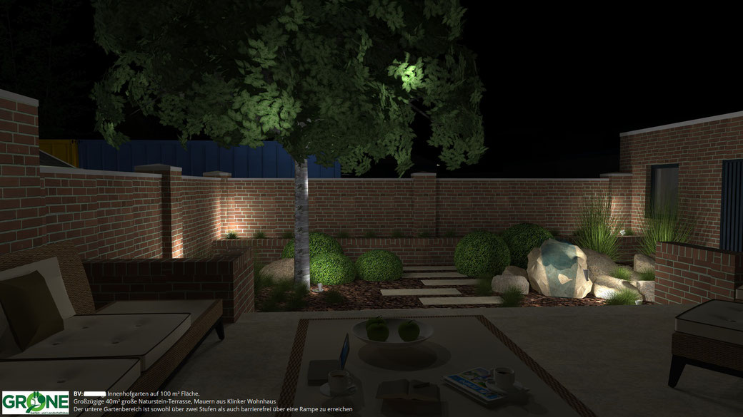 3D Garten-Planung Innenhof Naturstein Terrasse und Stufenanlage Beleuchtung Gröne Garten- und Landschaftsbau