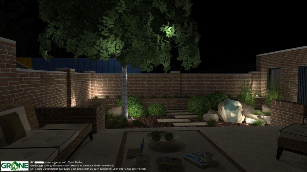 3D Garten-Planung, Innenhofgarten, Naturstein Terrasse, Stufenanlage, Beleuchtung, Gröne Garten- und Landschaftsbau, Quellstein, Trittplatten, Buxus, Gräser