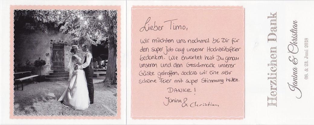 Hochzeits DJ in Bonn buchen - Hier eine Dankeskarte von einer Hochzeit auf der Godesburg Bonn