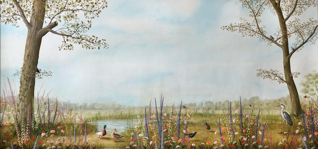 Two Ducks - handgeschilderd behang Snijder&CO