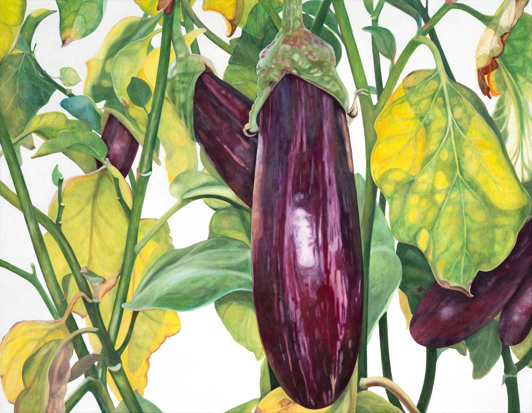 solanum melongena - tsakoniki, solanaceae, 90x70cm, 2020, oil on linen