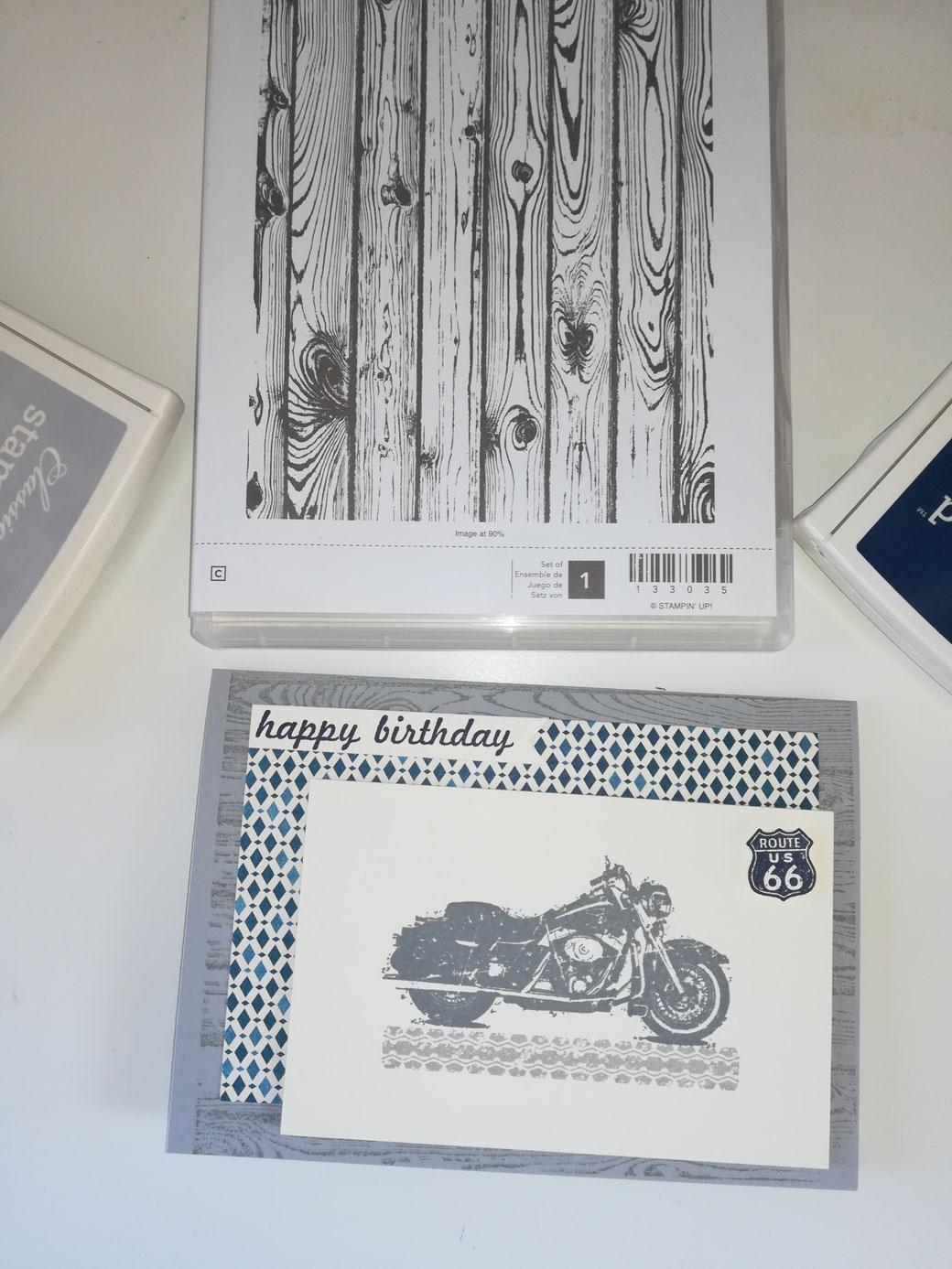 Stampin Up Geburtstagskarte Motorrad Birthday Card Bike Punch