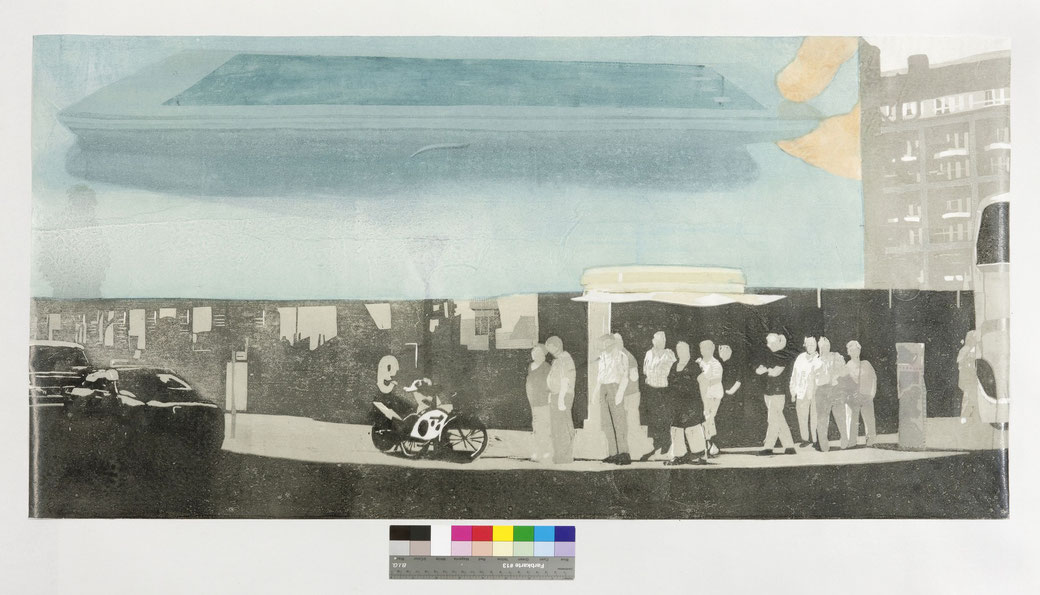 UTA ZAUMSEIL - ABB.1: occupy checkpoint charlie , 2012, 54 x 108 cm , Holzschnitt