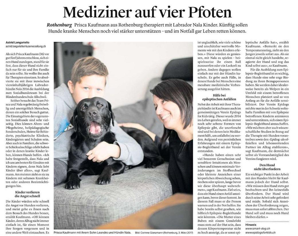 Bericht über uns in der Luzerner Zeitung, Ausgabe vom 07.03.2017