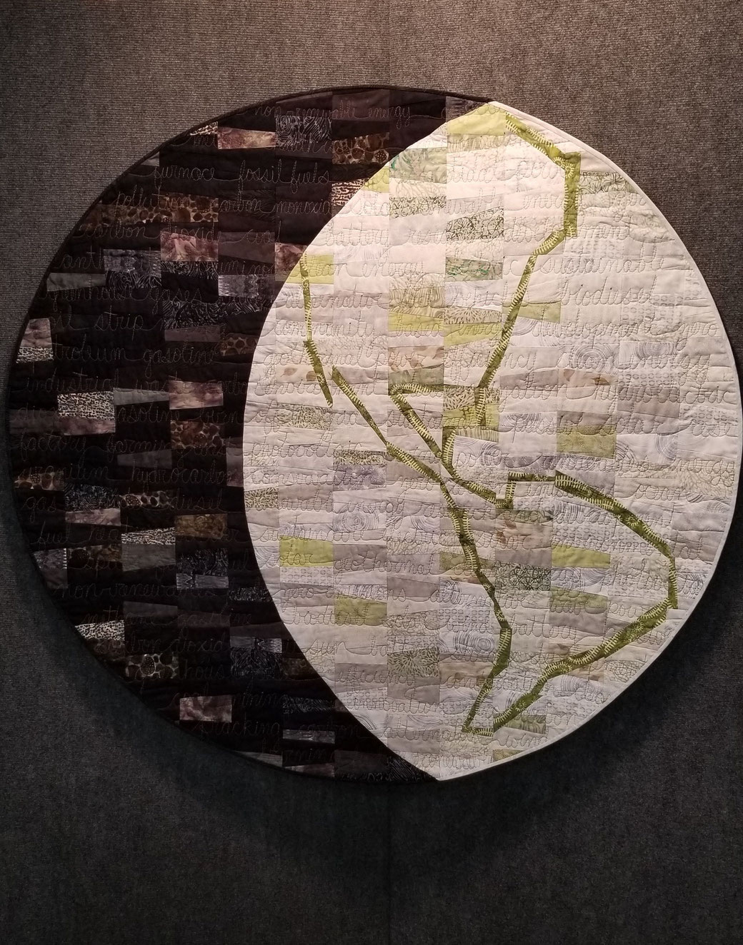 """One World, One Chance"" Art Quilt by Amy Mundinger, 48"" diameter"
