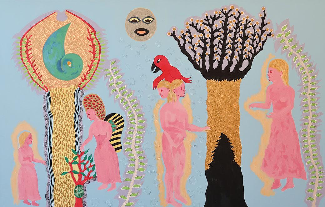 Frauen Rituale, 2020, 90x140cm, Acryl auf Baumwolle