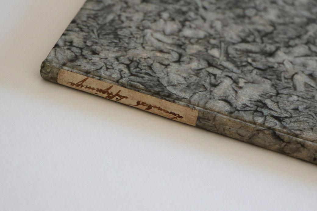 Nahaufnahme von einem Pappband mit handgefertigtem Kleisterbezugspapier und einem handgeschriebenen Titelschild.