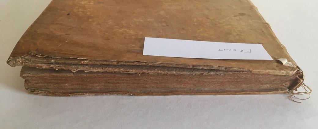 Pergament einband gespaltene Deckel pappe