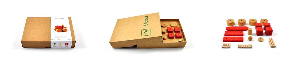 oi-blocks - jeu de construction en bois - emballage et contenu