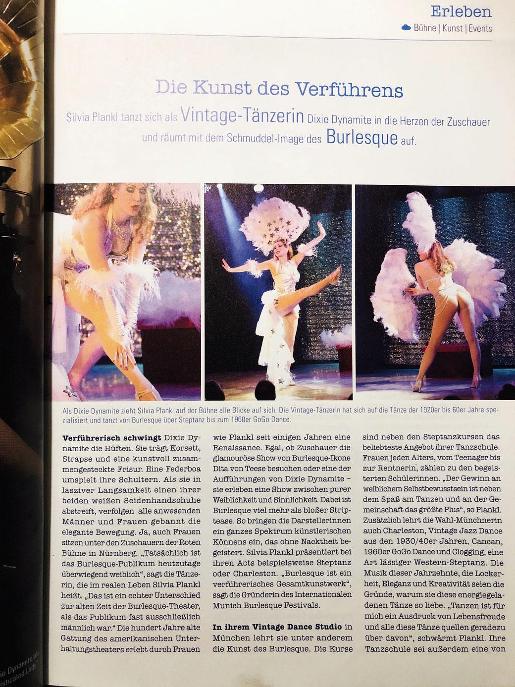 Burlesque Show Tänzerin buchen München, Vintage Dancer Dixie Dynamite, Silvia Plankl, Bericht, Heimatmagazin Oberbayern Tirol, Himmeblau, Burlesqueshow München Bayern Deutschland Germany Bavaria, Charlestontänzerin, Stepptänzerin