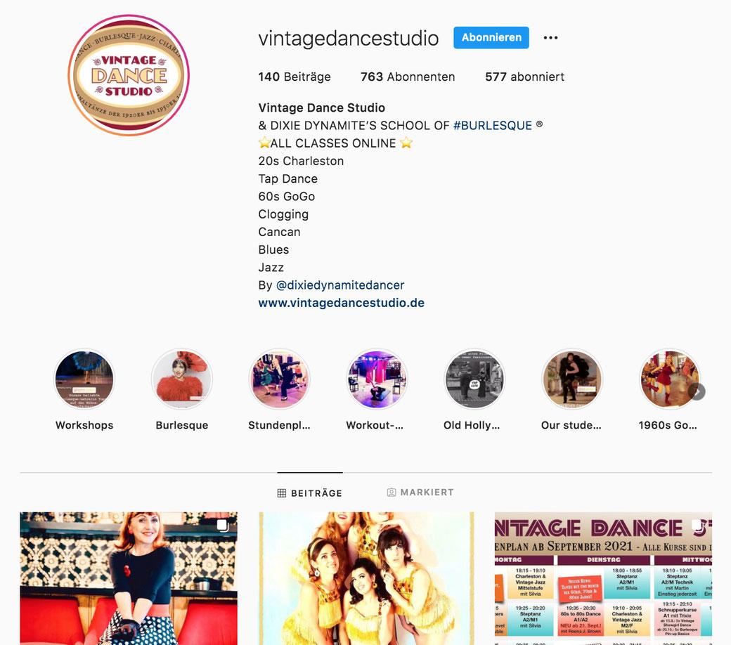 Vintage Tanzstudio, Schule für Burlesque, Burlesqueschule München, Tanzschule, Online-Tanzschule, Online-Tanzkurse auf Instagram, künstlerische Tanzschule München Deutschland Bayern