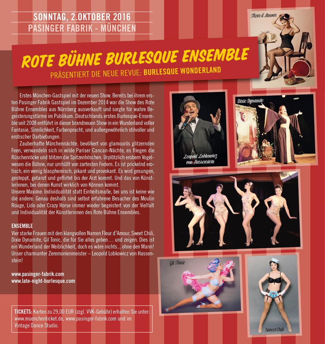 """Erstes Gastspiel vom Rote Bühne Burlesque Ensemble mit seiner neuen Burlesqueshow """"Burlesque Wonderland"""" in München am So. 2. Oktober 2016."""