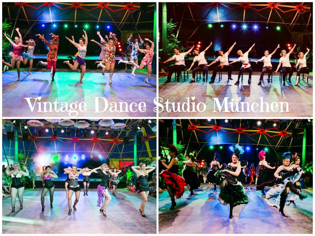 Vintage Dance Studio, Dixie Dynamite's School Of Burlesque München, Tollwood Shows, Cancan, Burlesque, 1960s GoGo, Stepptanz lernen, Tanzschule, Tanzstudio, Burlesqueschule, Kurse Workshops