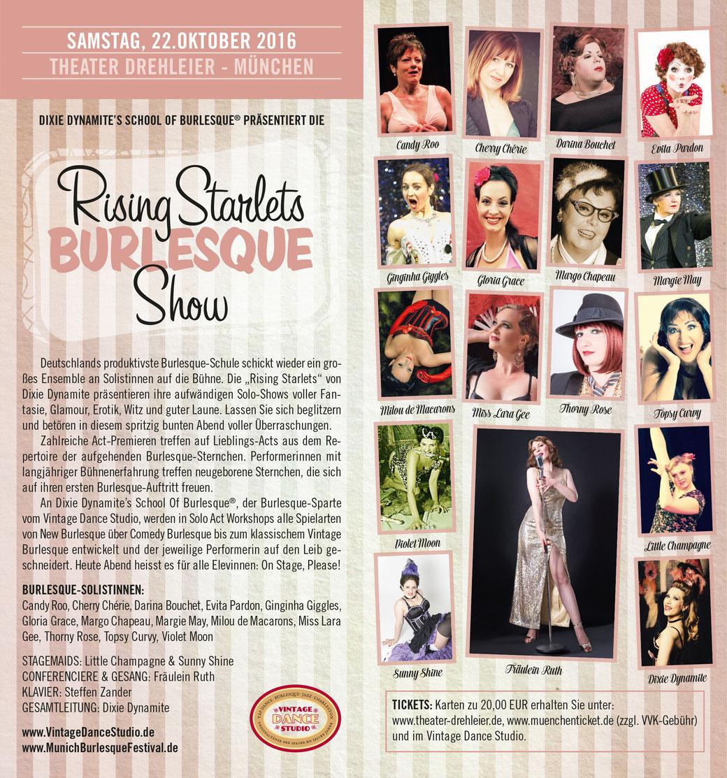 """Dixie Dynamite's School Of Burlesque präsentiert wieder die """"RISING STARLETS BURLESQUE SHOW"""" mit den Solistinnen der Burlesque-Schule."""