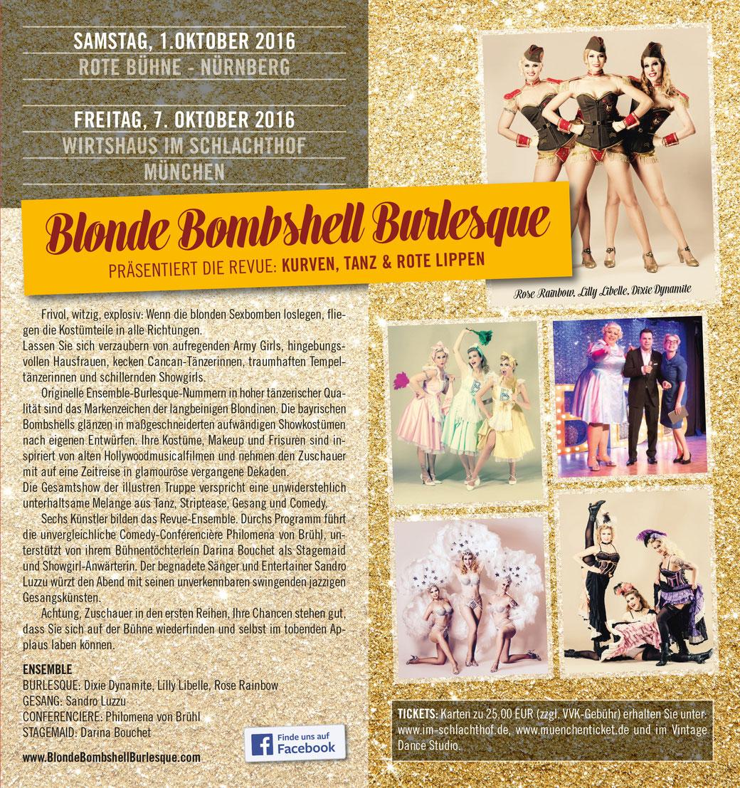 Die drei Blonde Bombshells zusammen mit ihren drei Showkolleg/innen erstmals mit ihrer Burlesque-Revue im berühmten Wirtshaus im Schlachthof.