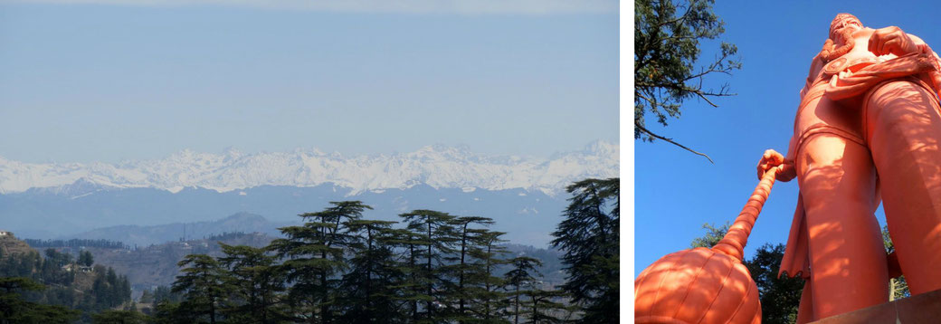 Bergkette des Himalaya und Hanuman-Statue in Shimla