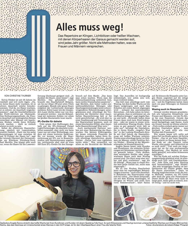 Zeitungsartikel über Waxing in Nürnberg