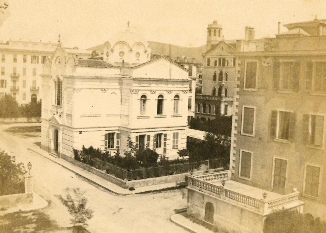 L'église avant le tremblement de terre de 1887 (avec la coupole d'origine)