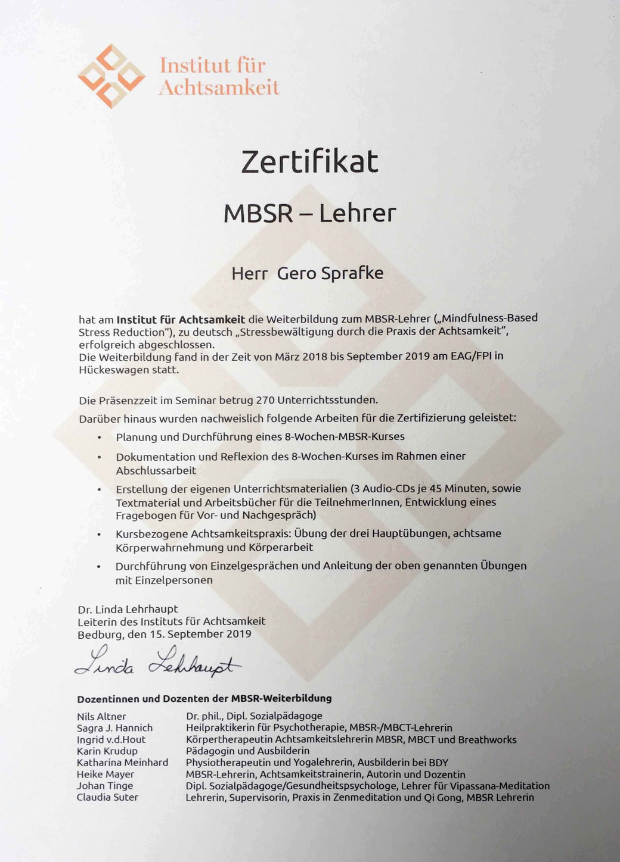 MBSR-Lehrer - Zertifikat