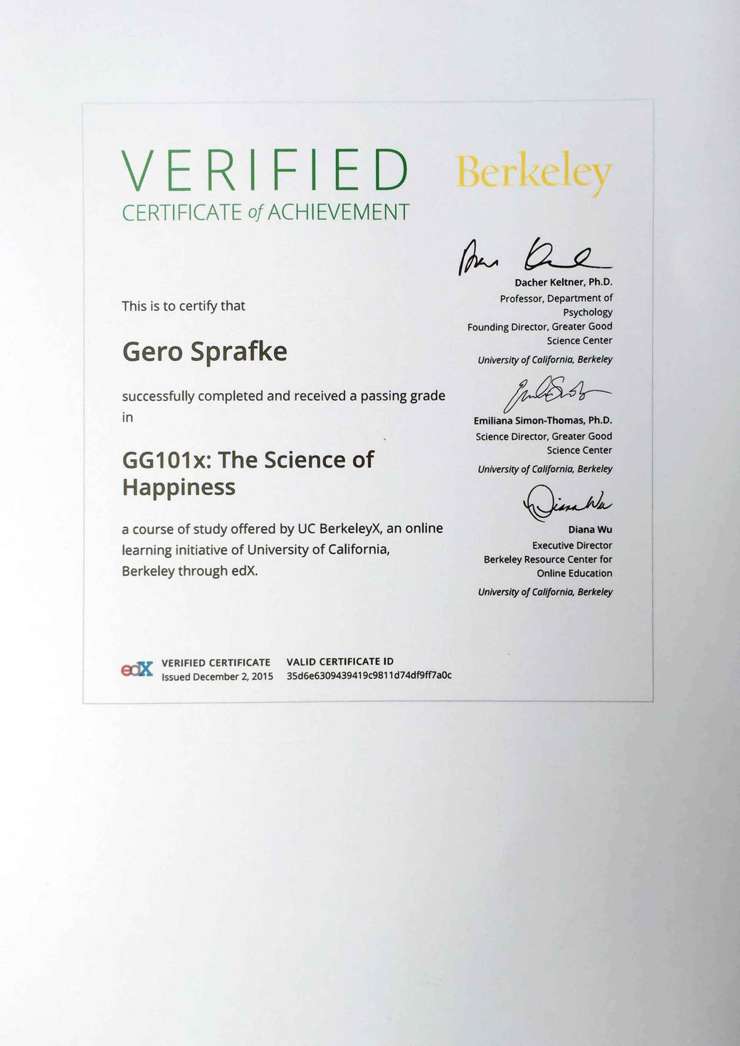 University of California | The Science of Happiness - Certificate of Achievement