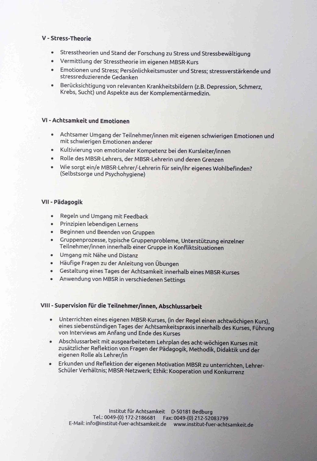 Institut für Achtsamkeit | MBSR-Ausbildungsinhalte - Seite 2