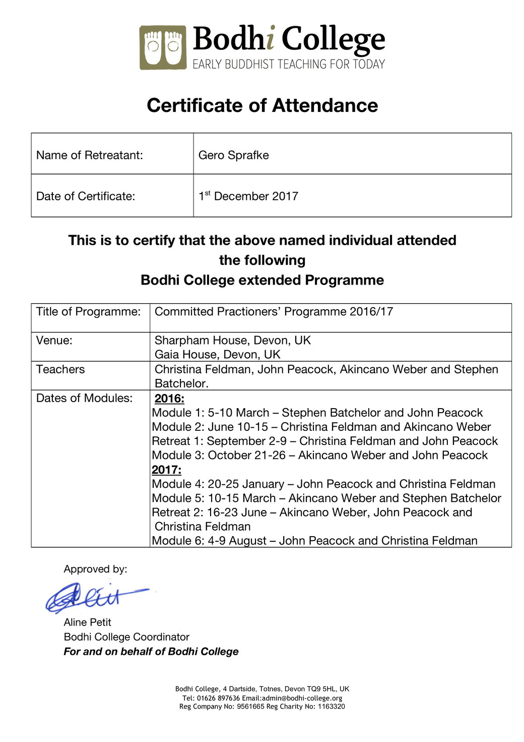 Bodhi College | Committed Practitioners´ Programme - Certificate of Attendance
