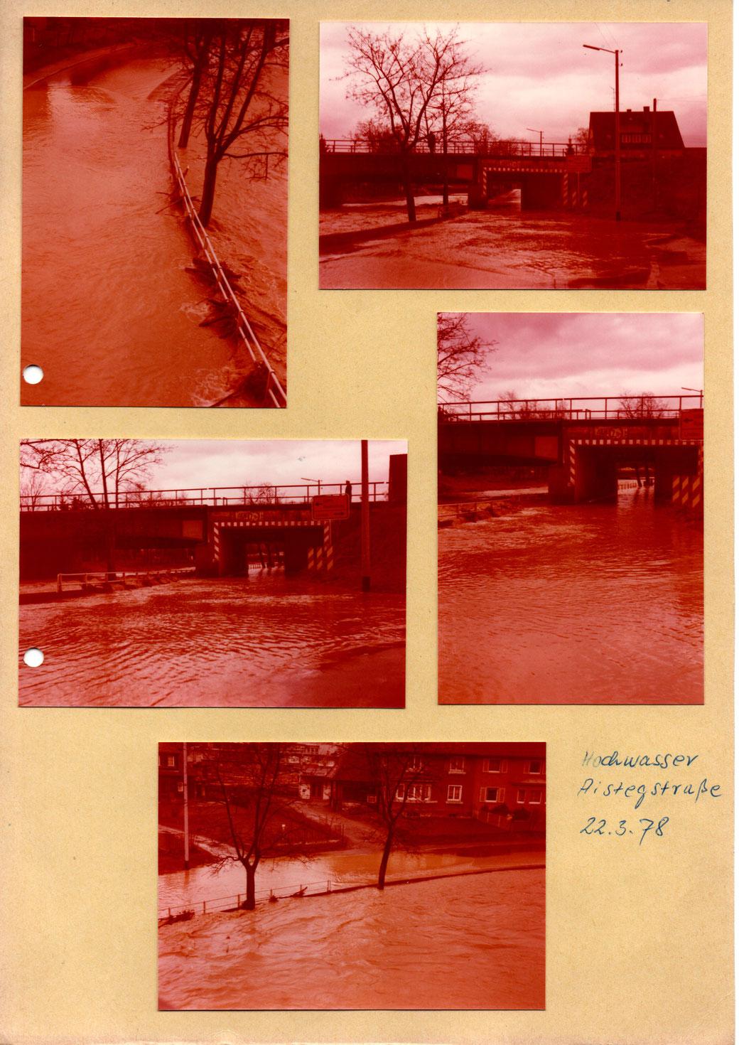 Die Bilder zeigen die Straße nördlich der Eisenbahnbrücke (Quelle: Familienbesitz), Bild unten: Aistegstr 11 - 15